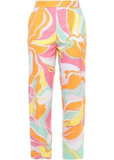 Emilio Pucci Woman Printed Cotton-poplin Tapered Pants Orange