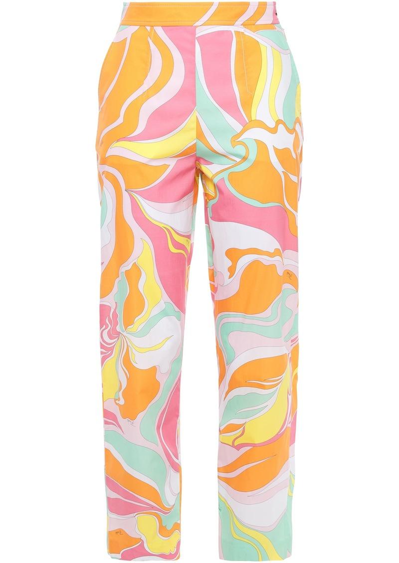 Emilio Pucci Woman Printed Cotton-poplin Tapered Pants Orange