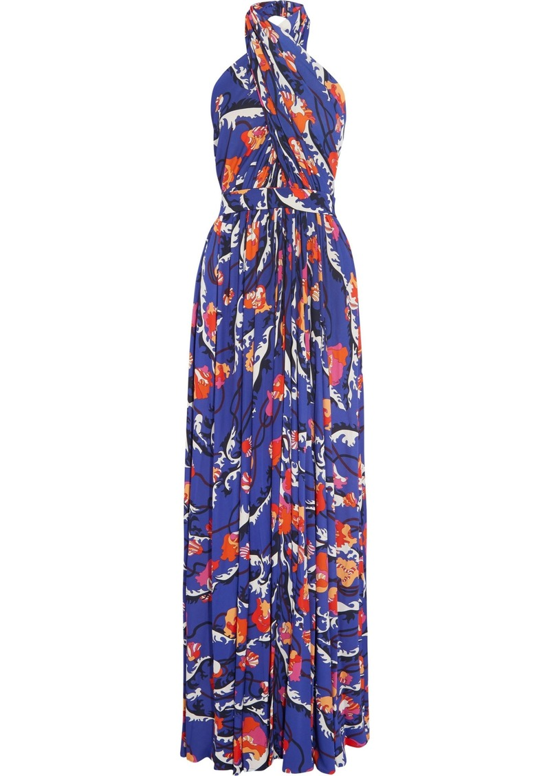 Emilio Pucci Woman Printed Stretch-jersey Halterneck Gown Purple