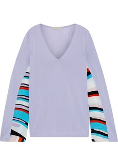 Emilio Pucci Woman Printed Crepe De Chine-paneled Cotton-blend Sweater Lavender