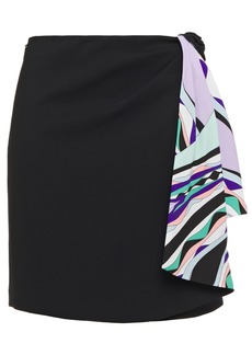 Emilio Pucci Woman Printed Crepe De Chine-paneled Crepe Mini Skirt Black
