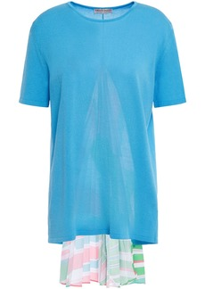 Emilio Pucci Woman Printed Crepe De Chine-paneled Knitted Top Light Blue