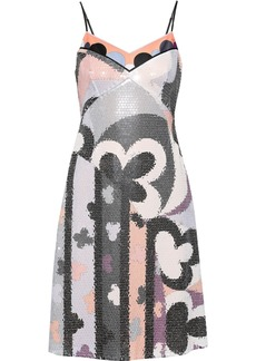 Emilio Pucci Woman Printed Crepe De Chine-trimmed Sequined Jersey Dress Light Gray