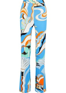 Emilio Pucci Woman Printed Crepe-jersey Straight-leg Pants Blue