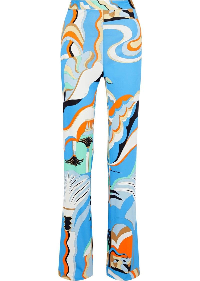 Emilio Pucci Woman Printed Crepe-jersey Straight-leg Pants Blue