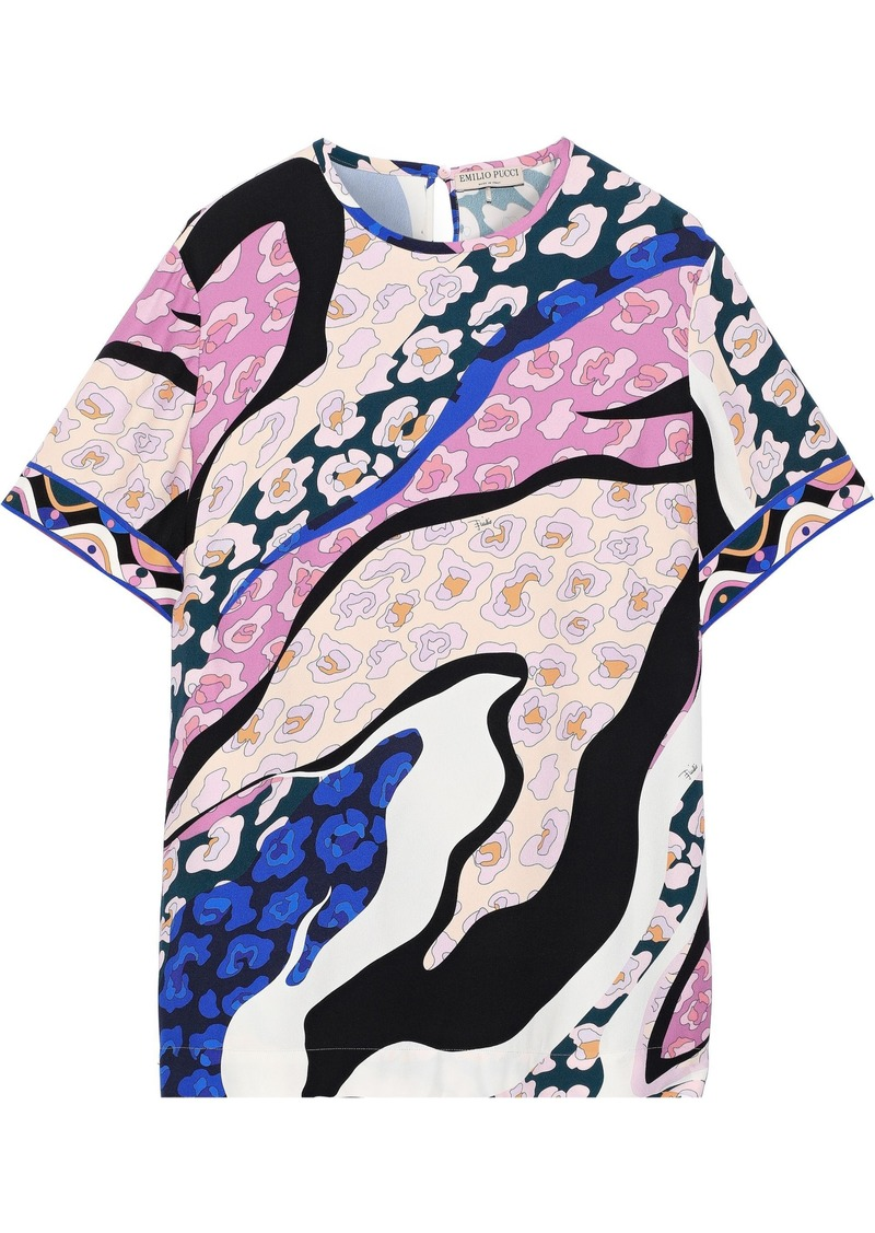Emilio Pucci Woman Printed Crepe T-shirt Neutral