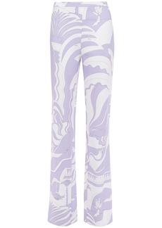 Emilio Pucci Woman Printed Crepe Wide-leg Pants Lavender