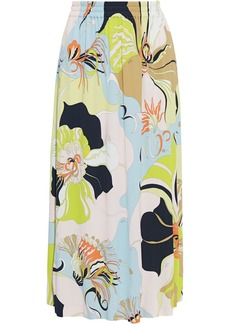 Emilio Pucci Woman Printed Jersey Midi Skirt Chartreuse