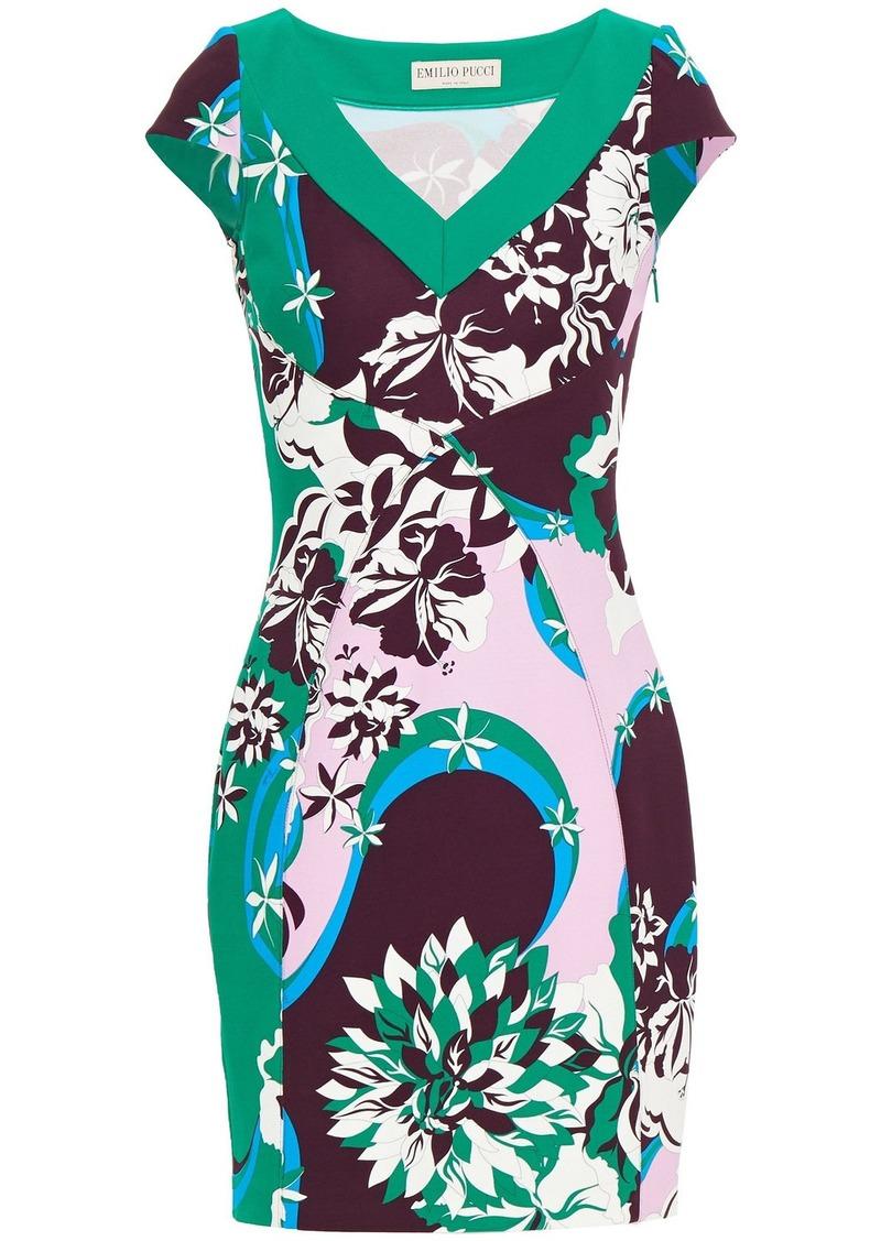 Emilio Pucci Woman Printed Jersey Mini Dress Green