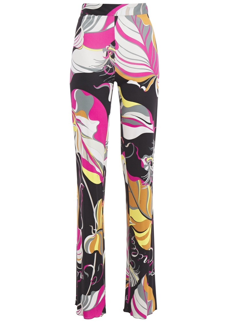 Emilio Pucci Woman Printed Jersey Straight-leg Pants Black