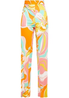 Emilio Pucci Woman Printed Jersey Straight-leg Pants Orange