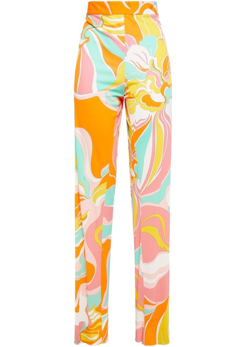 Emilio Pucci Woman Printed Jersey Straight-leg Pants Orange