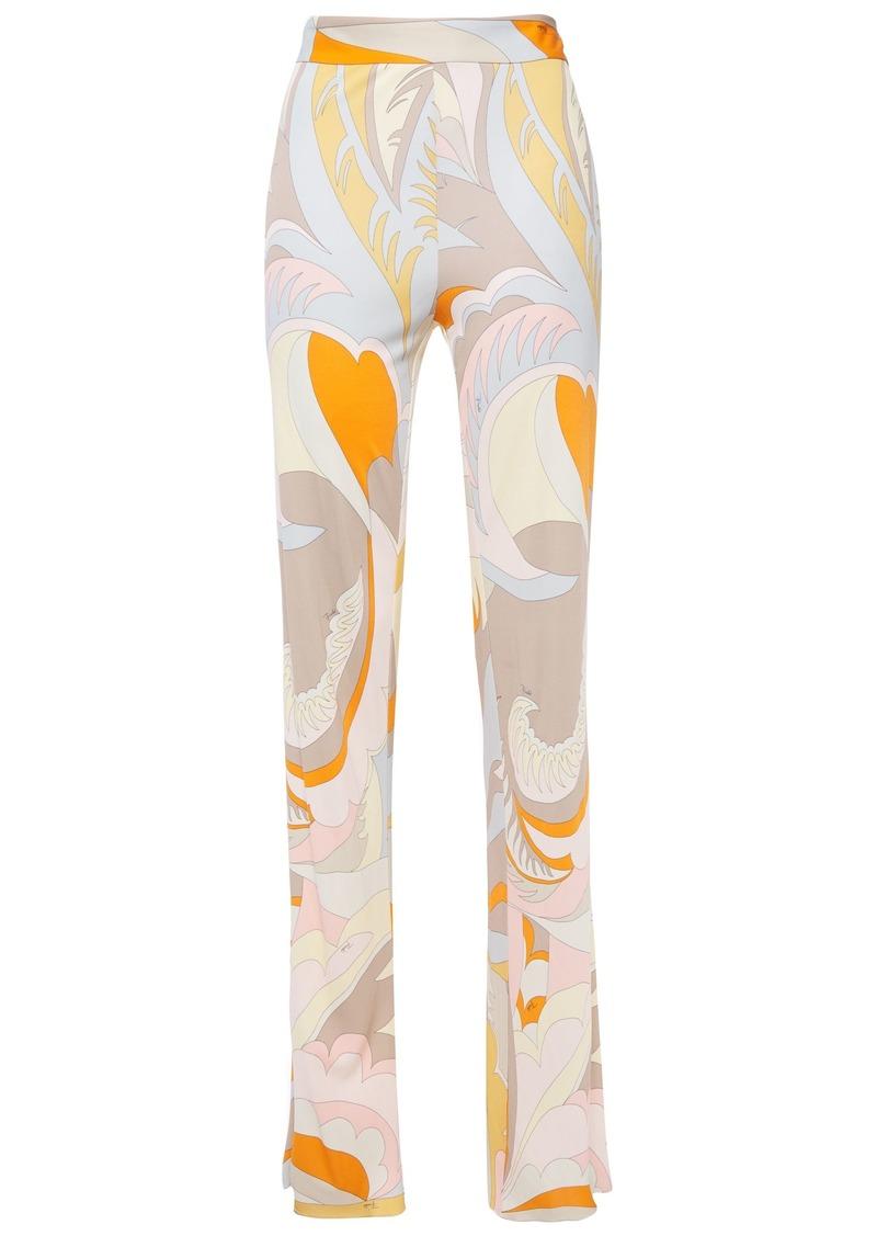 Emilio Pucci Woman Printed Jersey Straight-leg Pants Peach