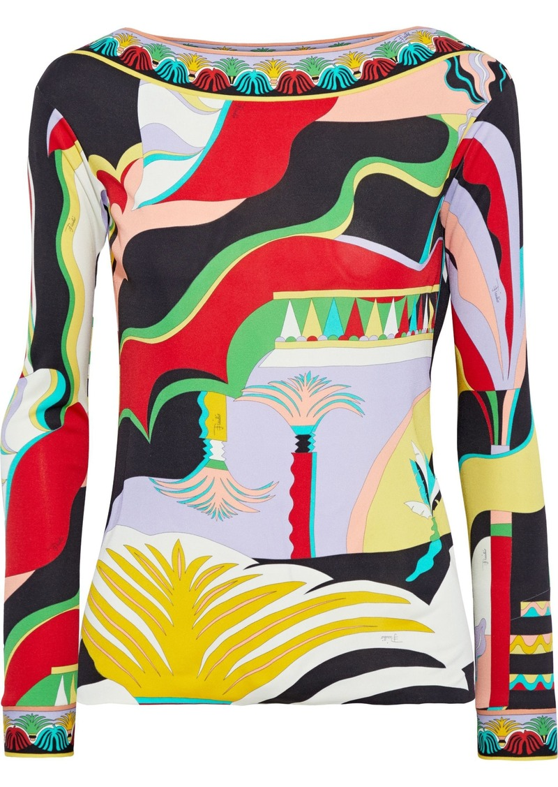 Emilio Pucci Woman Printed Jersey Top Multicolor