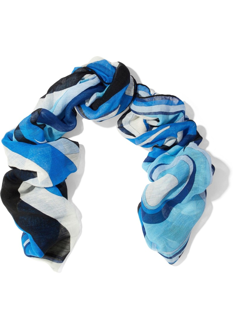 Emilio Pucci Woman Printed Linen And Cotton-blend Gauze Scarf Blue