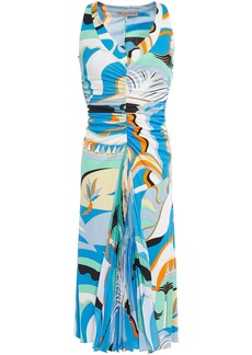 Emilio Pucci Woman Printed Pleated Crepe De Chine-paneled Ruched Jersey Dress Light Blue