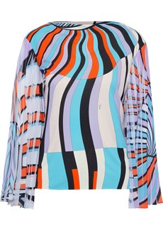 Emilio Pucci Woman Printed Pleated Georgette-paneled Jersey Top Lavender