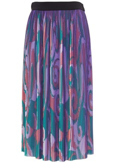 Emilio Pucci Woman Printed Plissé-crepe De Chine Midi Skirt Purple
