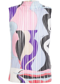 Emilio Pucci Woman Printed Ribbed Wool Top Multicolor