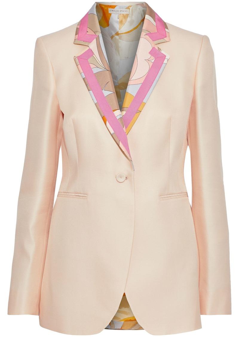 Emilio Pucci Woman Printed Satin-trimmed Wool And Silk-blend Twill Blazer Peach