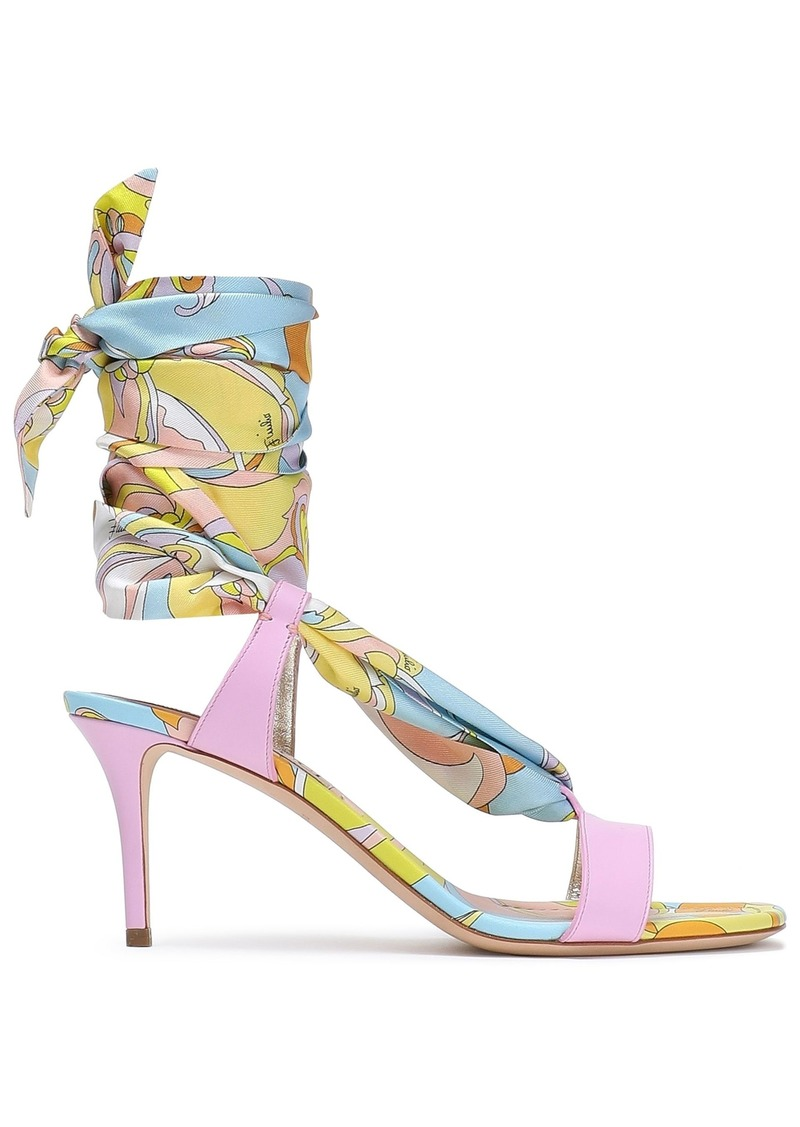 Emilio Pucci Woman Printed Satin-twill And Leather Sandals Baby Pink