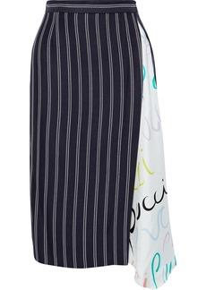 Emilio Pucci Woman Printed Satin Twill-paneled Striped Woven Skirt Midnight Blue