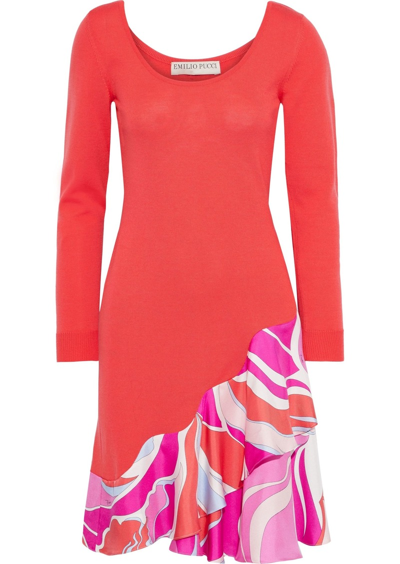 Emilio Pucci Woman Printed Satin Twill-paneled Wool Mini Dress Tomato Red