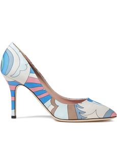 Emilio Pucci Woman Printed Satin-twill Pumps Light Blue