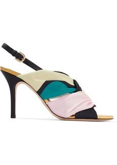 Emilio Pucci Woman Printed Satin-twill Slingback Sandals Multicolor