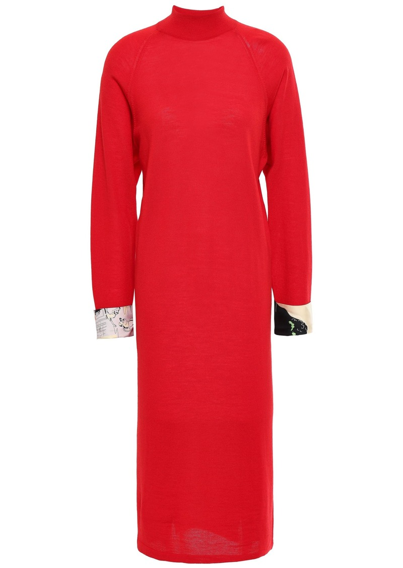 Emilio Pucci Woman Printed Satin Twill-trimmed Wool Midi Dress Red