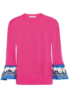 Emilio Pucci Woman Printed Silk-twill Paneled Wool Sweater Fuchsia