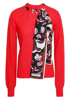Emilio Pucci Woman Printed Satin Twill-trimmed Wool Sweater Red