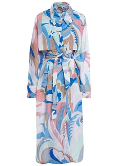 Emilio Pucci Woman Printed Shell Trench Coat Azure