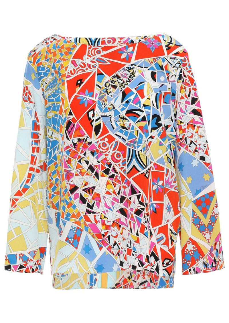 Emilio Pucci Woman Printed Silk Crepe De Chine Blouse Tomato Red