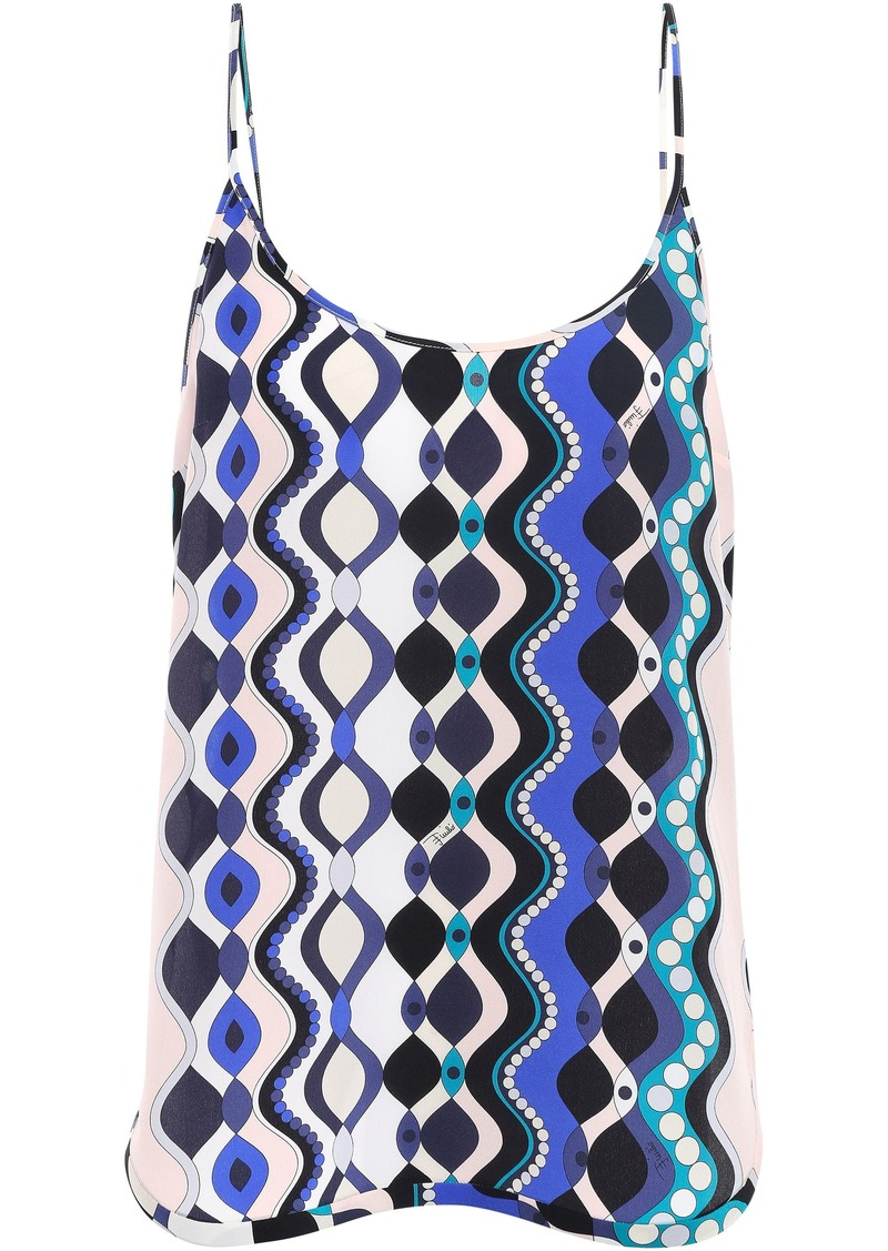 Emilio Pucci Woman Printed Silk Crepe De Chine Camisole Royal Blue