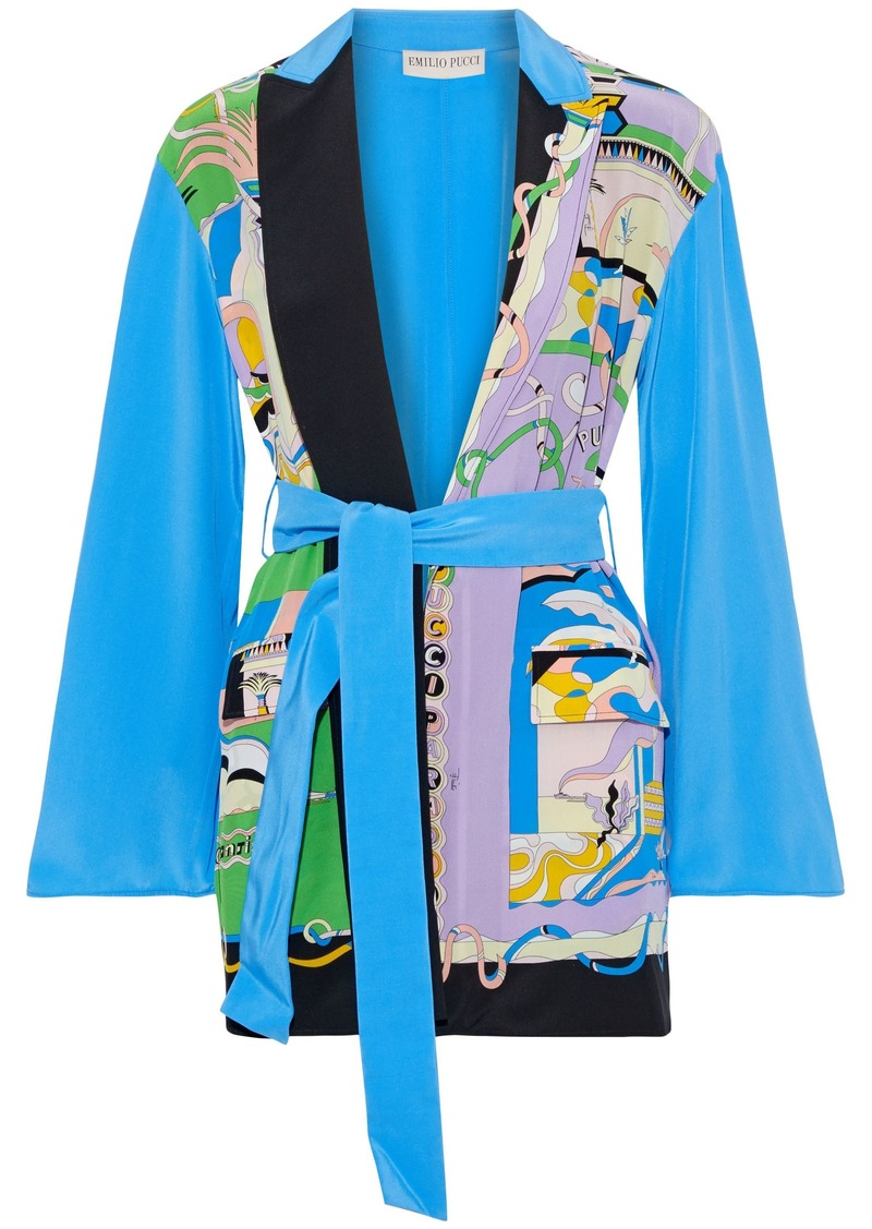 Emilio Pucci Woman Printed Silk Crepe De Chine Kimono Bright Blue
