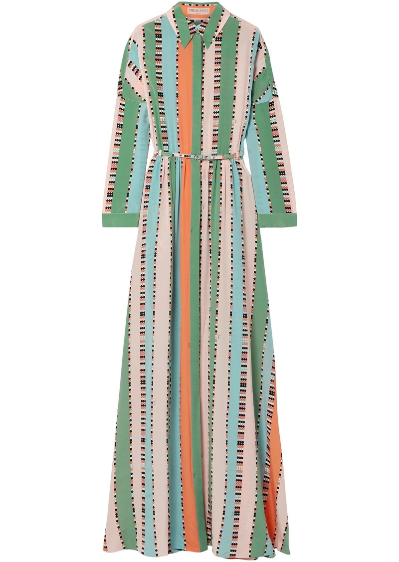 Emilio Pucci Woman Printed Silk Crepe De Chine Maxi Dress Mint