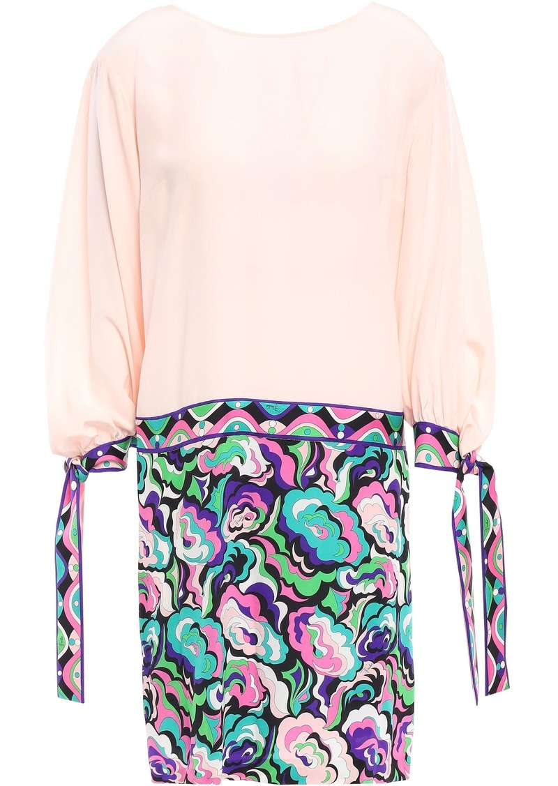 Emilio Pucci Woman Printed Silk Crepe De Chine Mini Dress Pastel Pink
