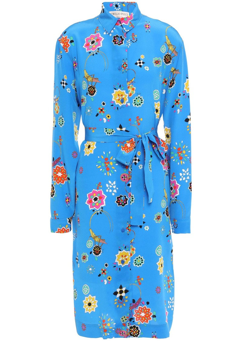 Emilio Pucci Woman Printed Silk Crepe De Chine Shirt Dress Azure