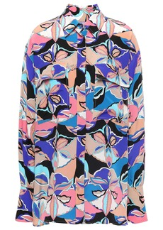 Emilio Pucci Woman Printed Silk Crepe De Chine Shirt Neutral