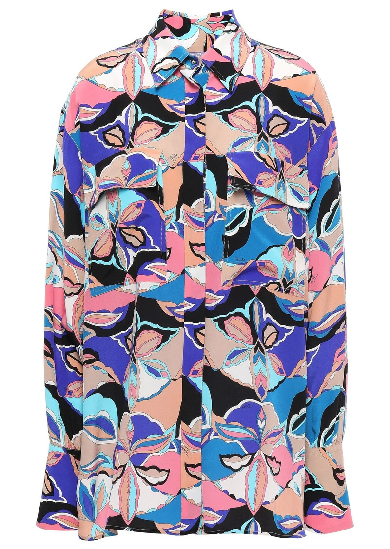 Emilio Pucci Woman Printed Silk Crepe De Chine Shirt Neutral