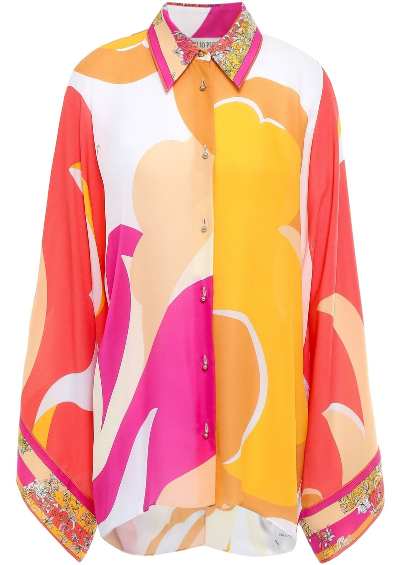 Emilio Pucci Woman Printed Silk Crepe De Chine Shirt Saffron