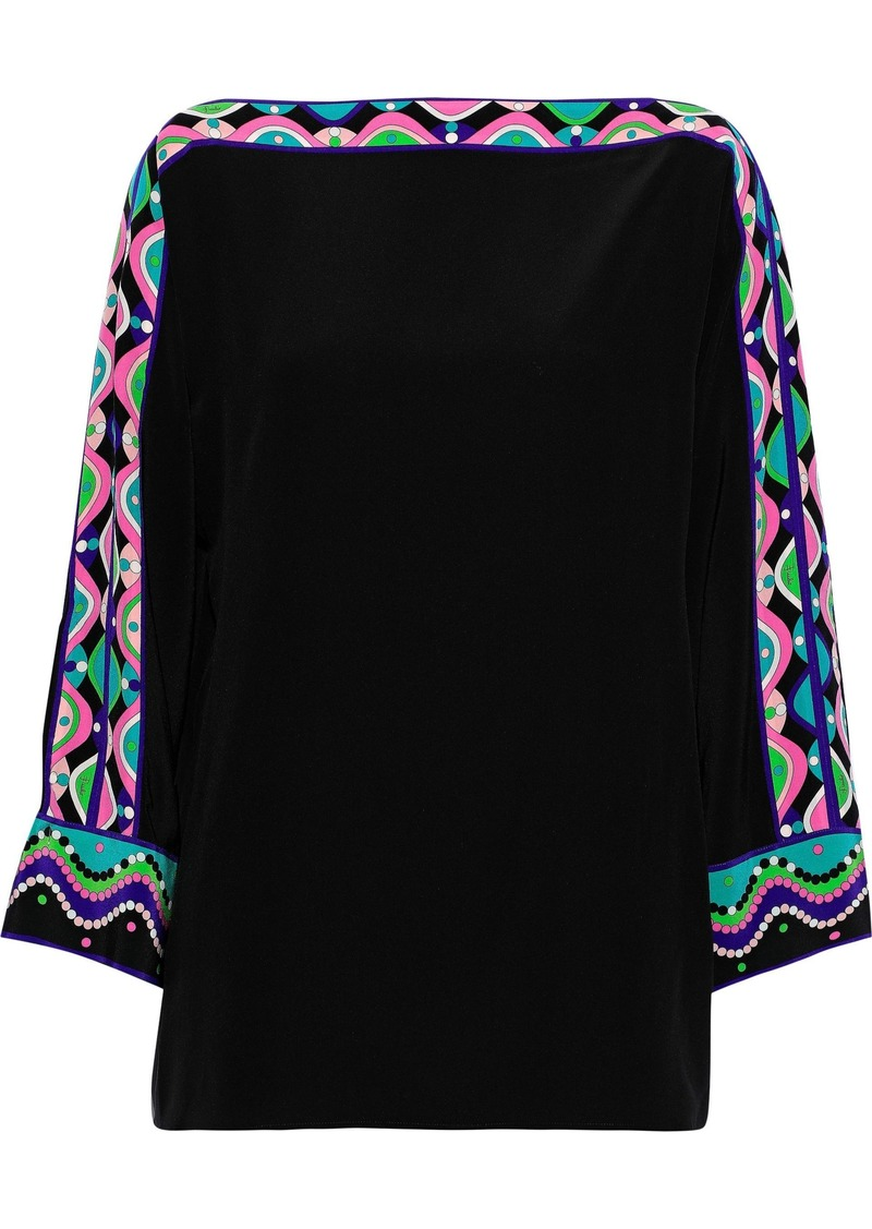 Emilio Pucci Woman Printed Silk Crepe De Chine Top Black