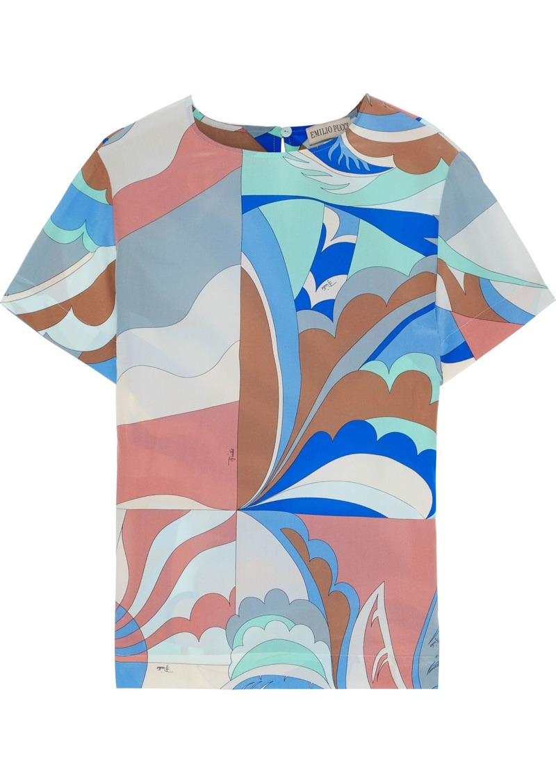 Emilio Pucci Woman Printed Silk Crepe De Chine Top Blue