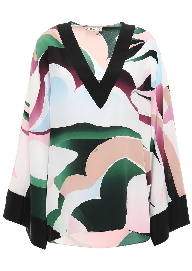 Emilio Pucci Woman Printed Silk Crepe De Chine Top Neutral