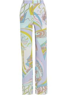 Emilio Pucci Woman Printed Silk Crepe De Chine Wide-leg Pants Lilac