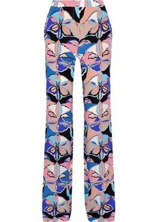 Emilio Pucci Woman Printed Silk Crepe De Chine Wide-leg Pants Taupe