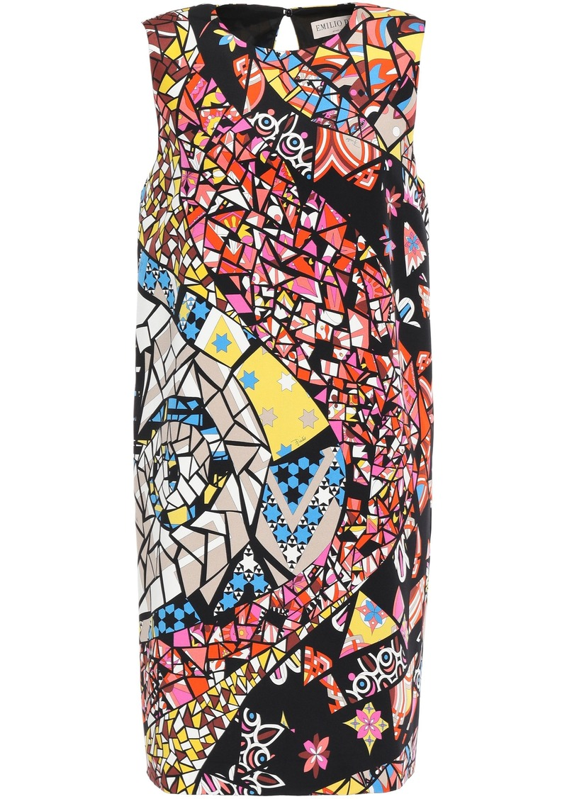 Emilio Pucci Woman Printed Silk-crepe Mini Dress Black