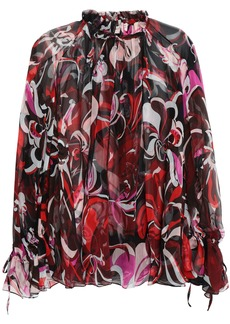 Emilio Pucci Woman Printed Silk-georgette Blouse Black