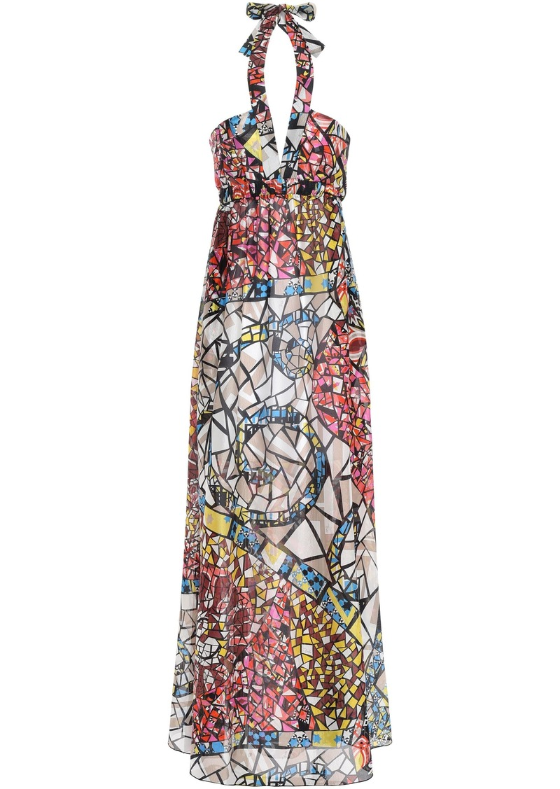 Emilio Pucci Woman Printed Silk-georgette Halterneck Maxi Dress Black